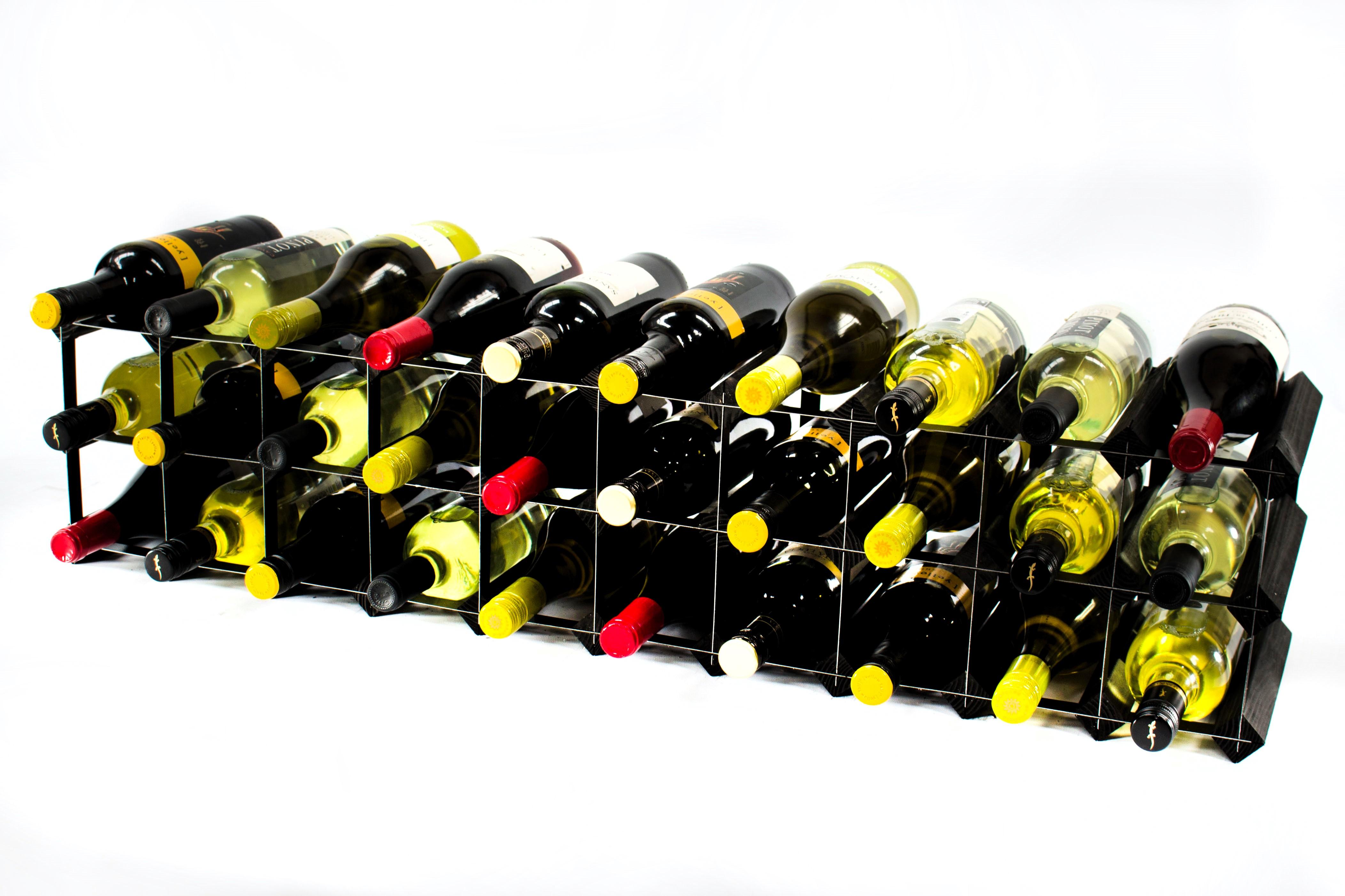 20 30 Bottle Cupboard Top Black Wood Amp Black Metal Wine Rack