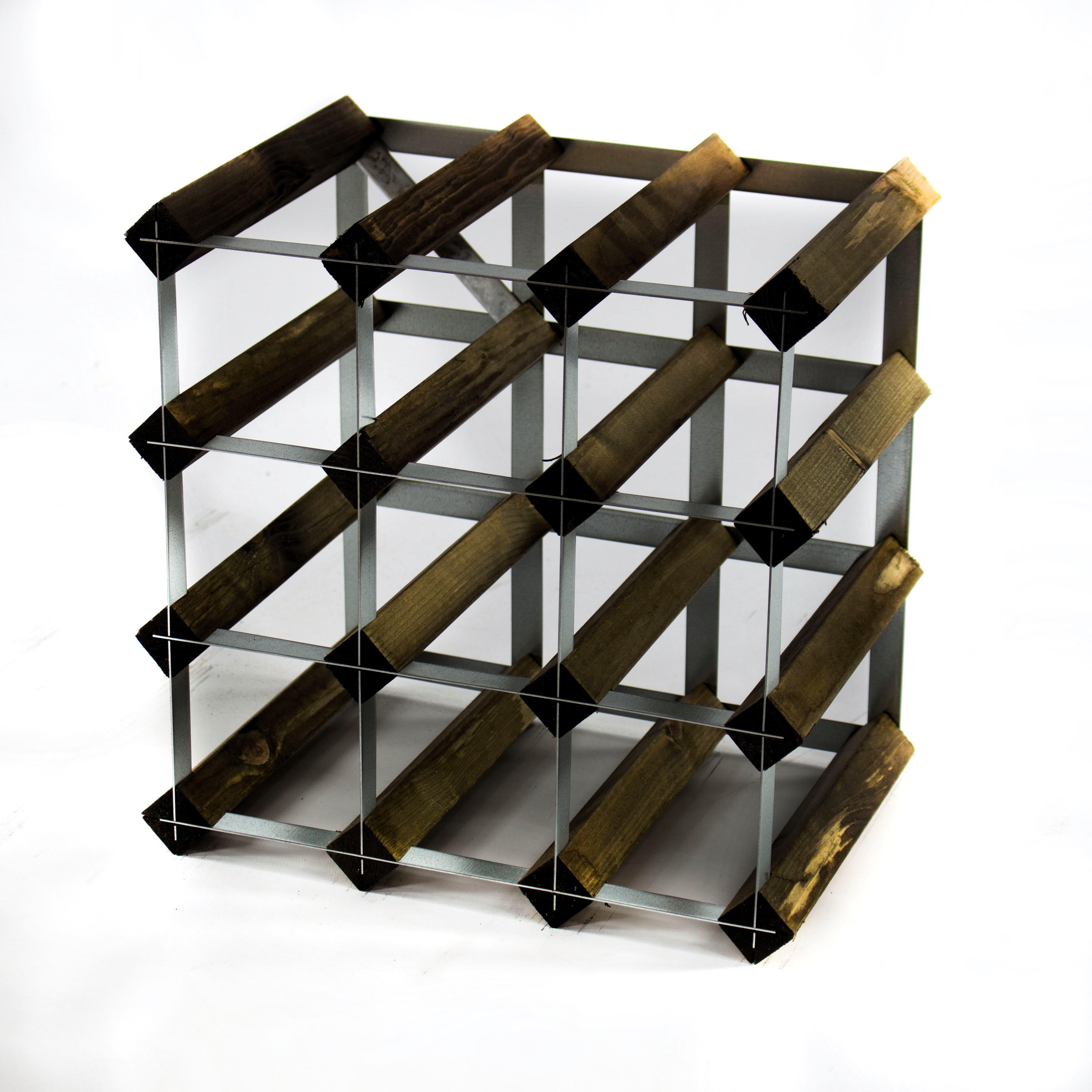 klassisch 12 flasche dunkel oak buntglas holz und metall wein st nder bereit ebay. Black Bedroom Furniture Sets. Home Design Ideas