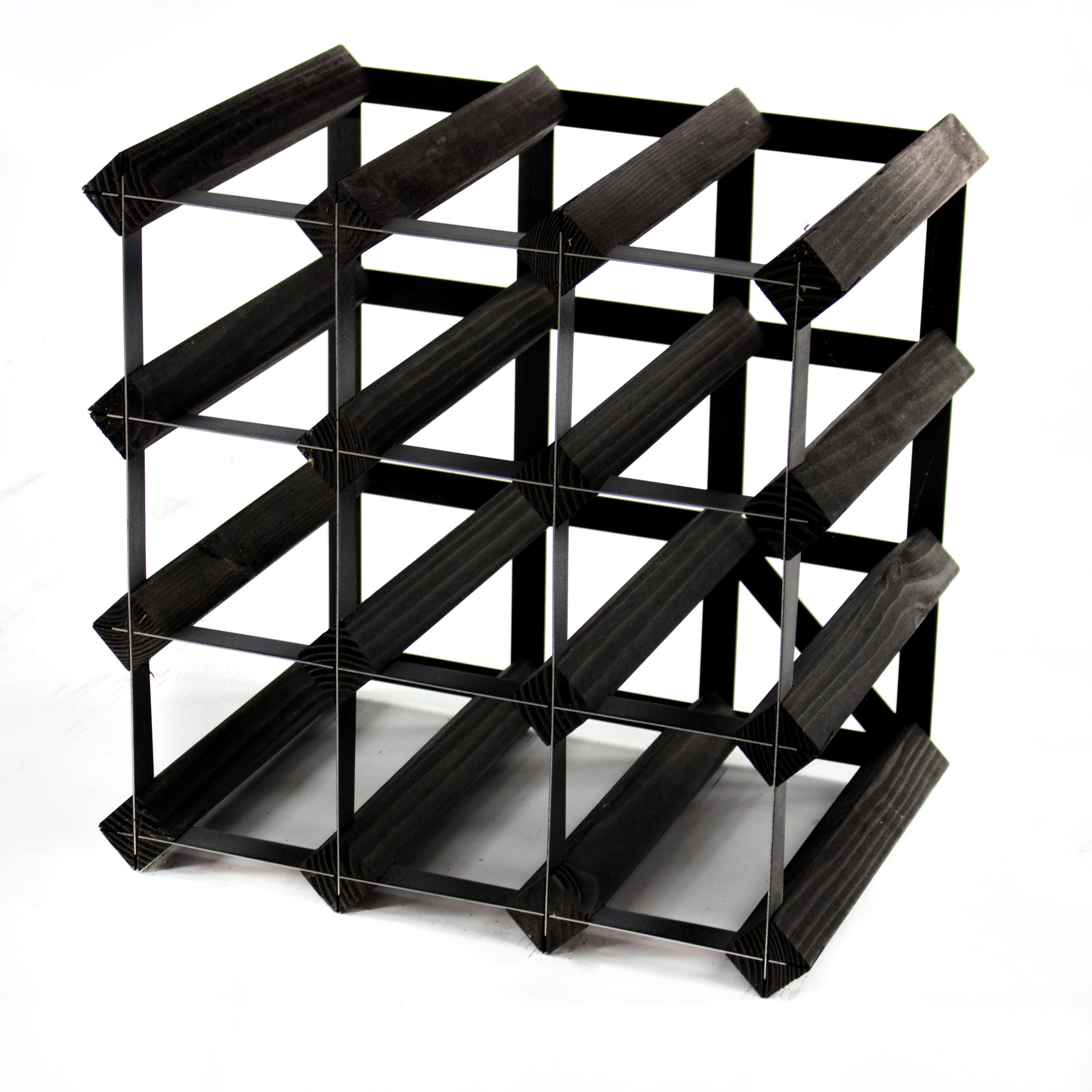 Cranville wine rack storage 12 bottle Black wood and metal assembled