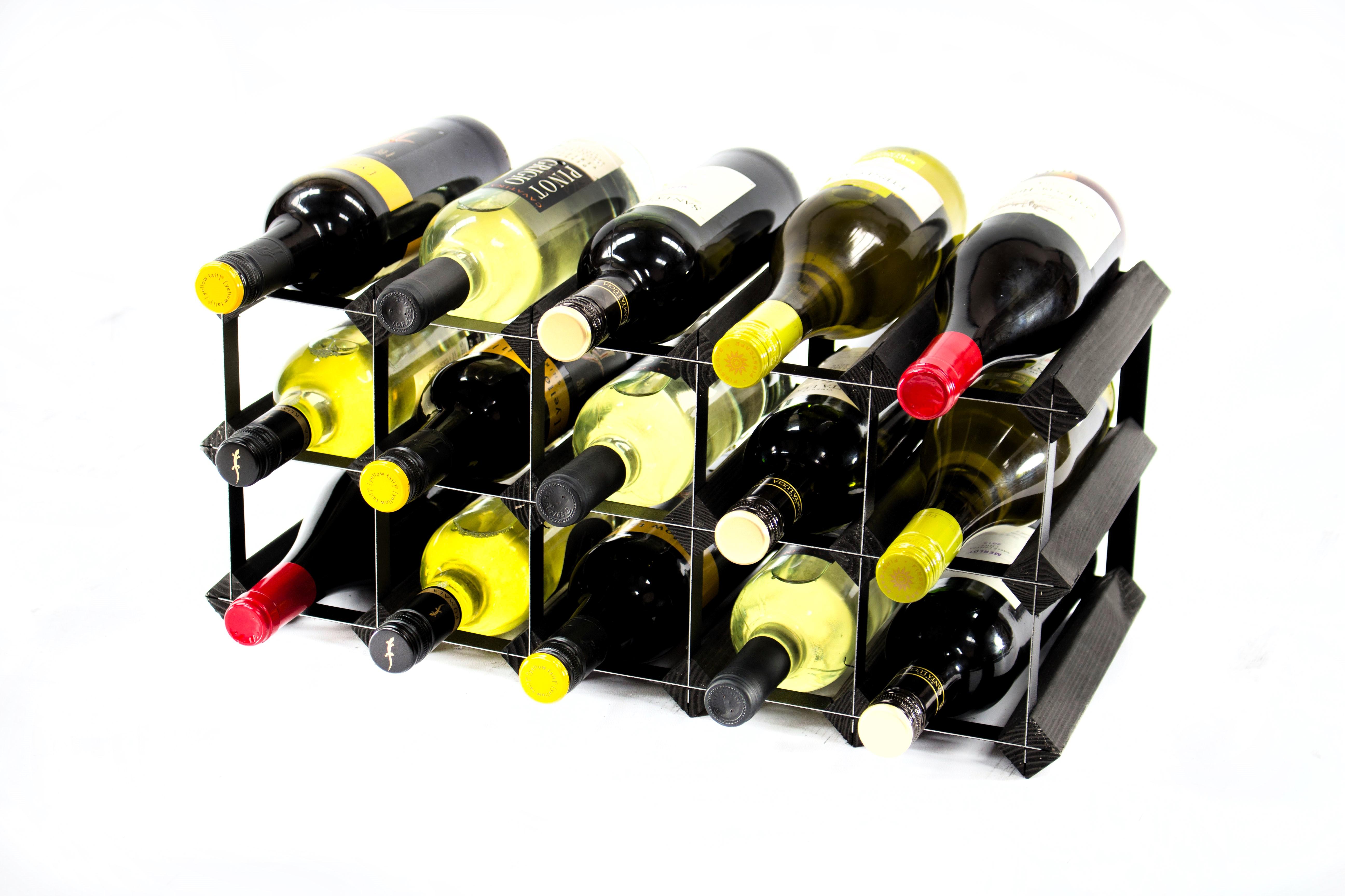 Cranville Wine Rack de rangement 30 Bouteille tache noire en bois et métal Noir Assemblé