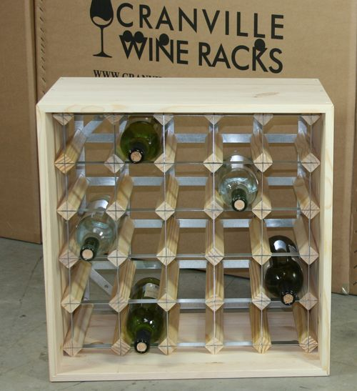 Wine rack cube 25 spaces pine ebay - Wine rack small space collection ...