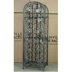 45 Bottle Wrought iron effect wine rack with door