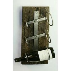 Iron three bottle wall mounted wine rack