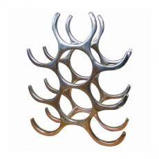 9 Bottle cast and polished solid aluminium wine rack