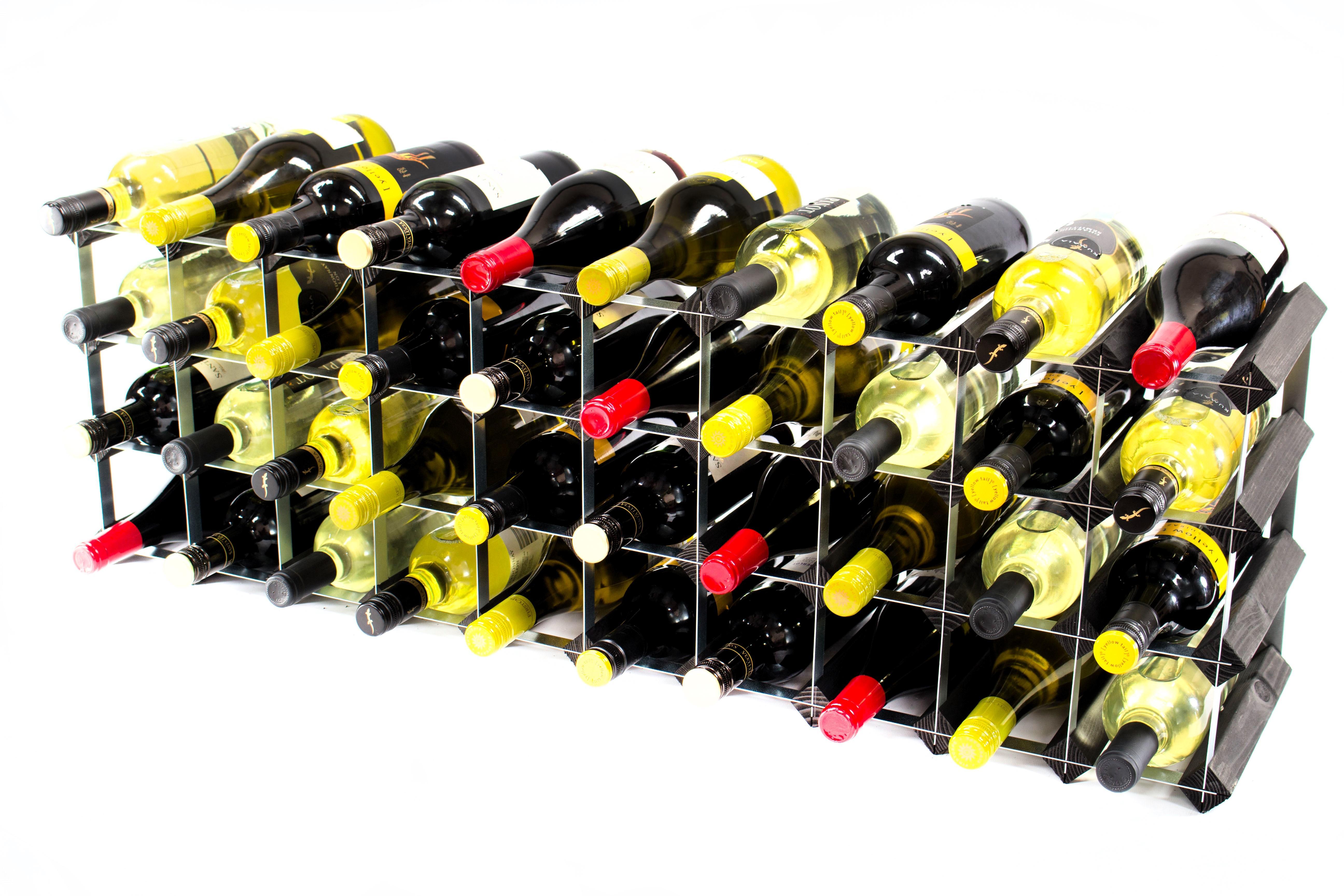 3040 Bottle Cupboard Top Black Wood Metal Wine Rack Cranville