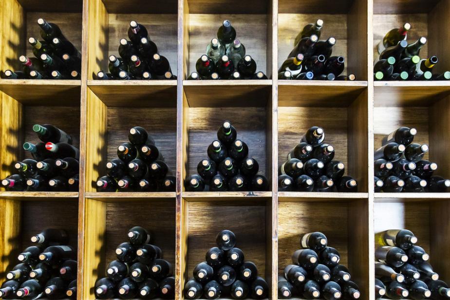 wine stacked on shelf