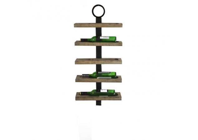 Five bottle wall mounted wine rack image