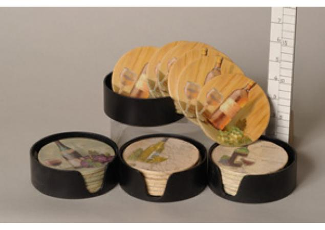 Set of six wine coasters image