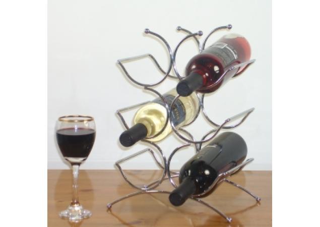 Six bottle chrome wine rack image