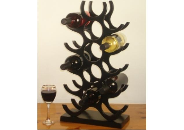 15 Bottle solid aluminum wine rack in a gloss / satin black finish image