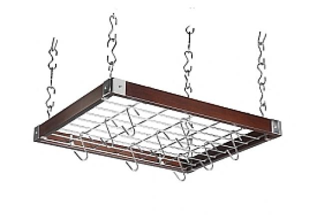 Square dark wood hanging rack image