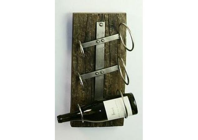 Iron three bottle wall mounted wine rack image