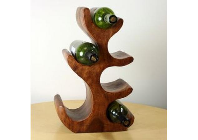 6 Bottle dark solid wood wine holder image