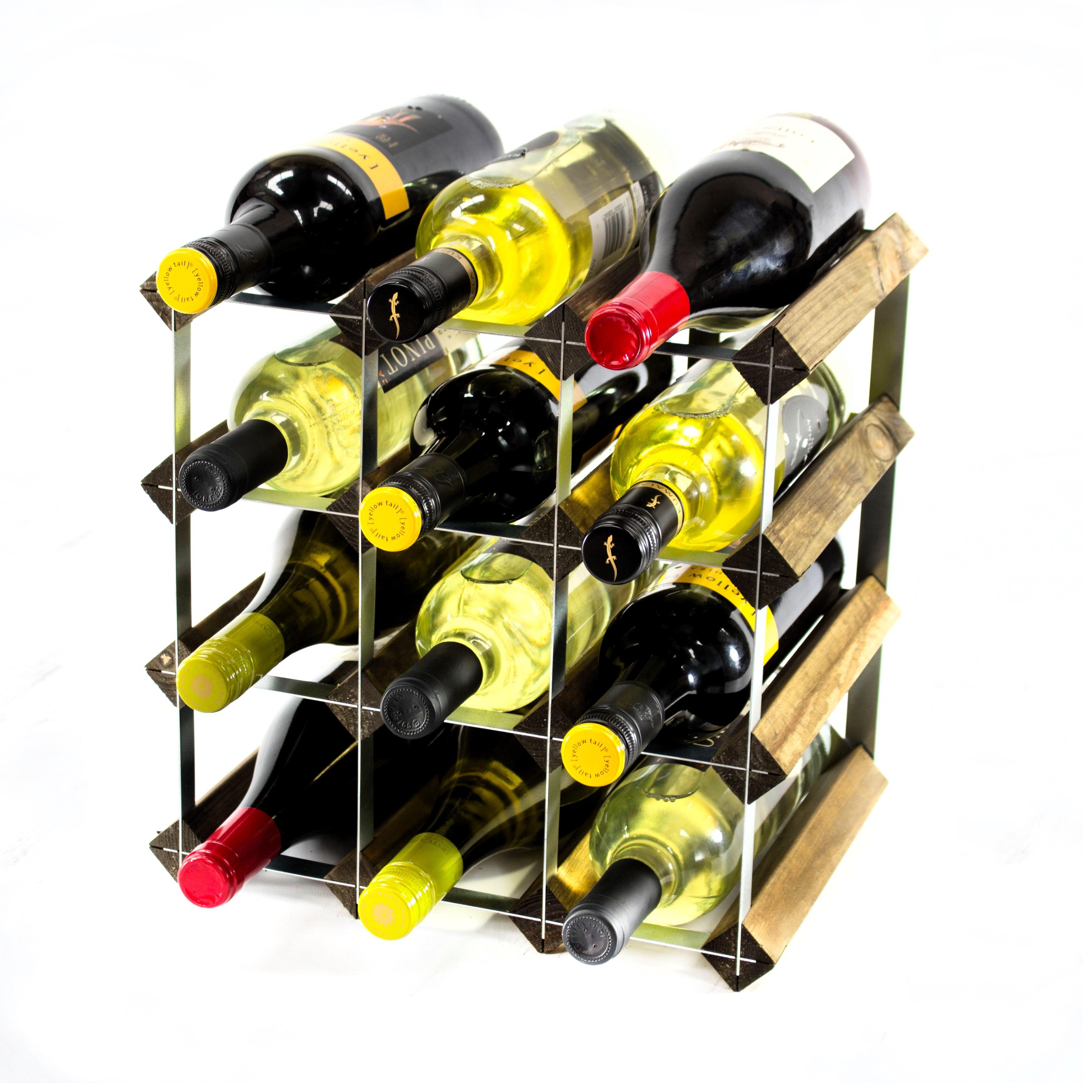 Classic 12 Bottle Walnut Wine Rack Ready Assembled